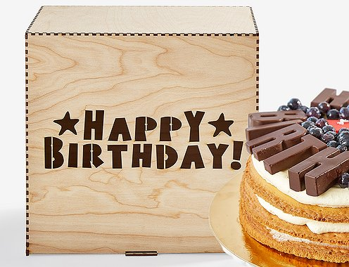 """Happy Birthday"" торт - Wood Box"